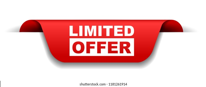 red vector banner limited offer