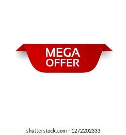red vector banner mega offer