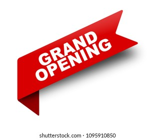 red vector banner ribbon grand opening