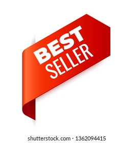 Red Vector Banner Ribbon on white background, left bookmark. Best Seller
