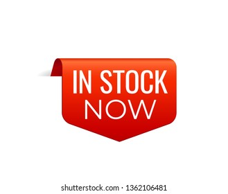 Red Vector Banner Ribbon on white background, top bookmark. In Stock now