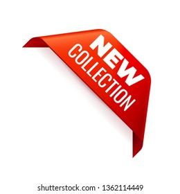Red Vector Banner Ribbon on white background, corner ribbon. New Collection