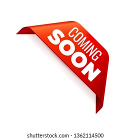 Red Vector Banner Ribbon on white background, corner ribbon. Coming Soon