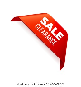 Red Vector Banner Ribbon on white background, corner ribbon, sale clearance - Vector Illustration