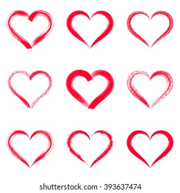 Red vector brush strokes hearts outlines valentine illustrations