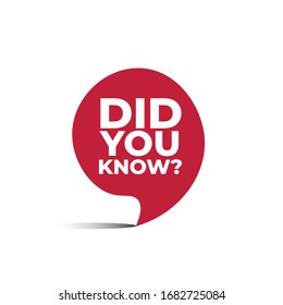 red vector bubble banner did you know