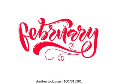 "Red vector calligraphy text  ""Fabruary"" on simple white background for celebration vector illustration EPS 10 as invitation template, handbill, flysheet, broadsheet, poster, placard for Internet Site"