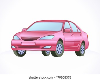 Red vector car. Isolated graphic.