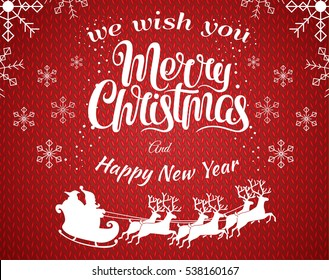 Red vector christmas illustration background with Santa Claus silhouette riding a sleigh with deers. Merry christmass poster. Happy New Year banner with white snowflakes. Vector illustration.