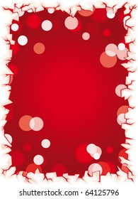 Red vector christmas lights background with ice border