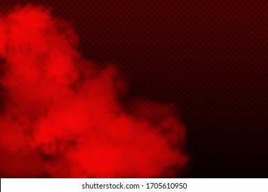 Red vector cloudiness ,fog or smoke on dark checkered background.Cloudy sky or smog over the city.Vector illustration.