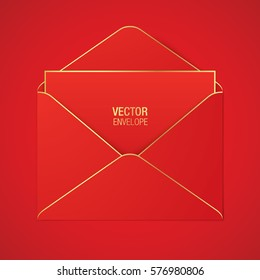 Red vector envelope template with golden elements, lying on a red background. Realistic envelope mockup.