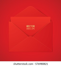Red vector envelope template, lying on a red background. Realistic envelope mockup.