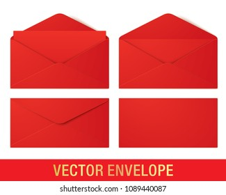 Red vector envelopes in different views, isolated on a white background. Set of realistic vector envelope mockups.
