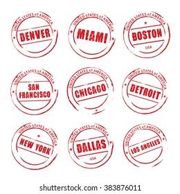 Red vector grunge stamp, American Cities. Denver, Miami, Boston, Chicago, Dallas.