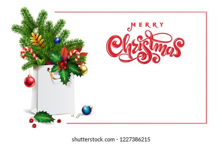 Red Vector hand drawn lettering text Merry Christmas. 3d Shopping bag, bouquet spruce, fir branches, xmas toys, colorful balls, holly berries, leaves, sweets, empty space for Christmas festive text