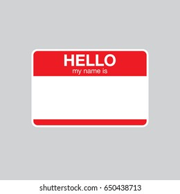 "Red vector ""Hello my name is"" label sticker."