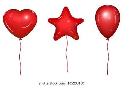Red vector holiday balloons with ribbons. Heart, Star and simple form. Vector Illustration, isolated on white background.