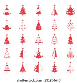 Red vector icon Christmas tree,illustration designed