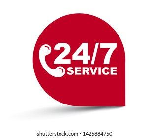 red vector illustration banner 24/7 service