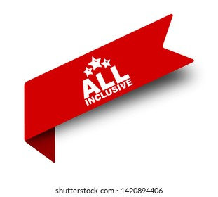 red vector illustration banner all inclusive