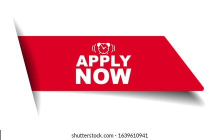 red vector illustration banner apply now