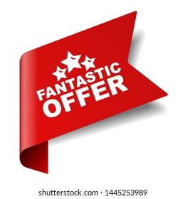 red vector illustration banner fantastic offer