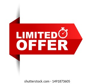 red vector illustration banner limited offer