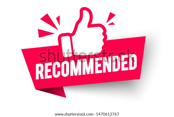 red vector illustration banner recommended with thumbs up