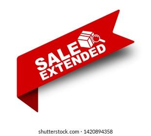 red vector illustration banner sale extended