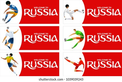 Red vector illustration banner with soccer player. FIFA world cup. Welcome to Russia. Vector fool color illustration football player. Russia 2018.