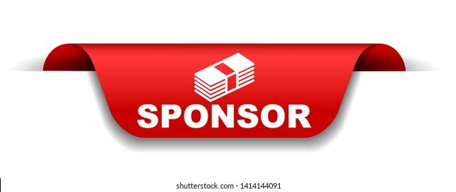 red vector illustration banner sponsor