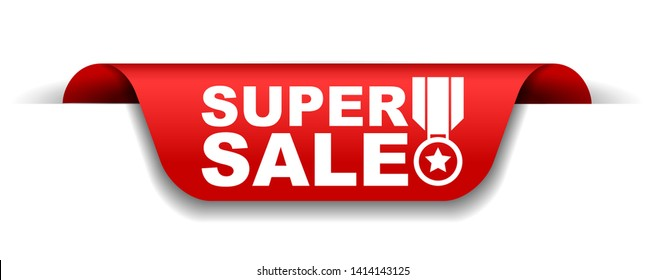 red vector illustration banner super sale