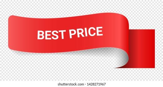 Red Vector Illustration Sign Best Price. Illustrations For Promotion Marketing For Prints And Posters, Menu Design, Shop Cards, Cafe, Restaurant Badges, Tags, Packaging etc. eps 10