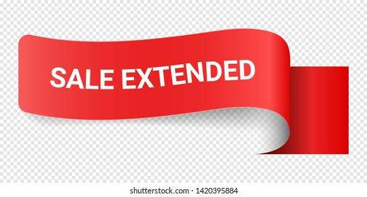 Red Vector Illustration Sign Sale Extended. Illustrations For Promotion Marketing For Prints And Posters, Menu Design, Shop Cards, Cafe, Restaurant Badges, Tags, Packaging etc. eps 10