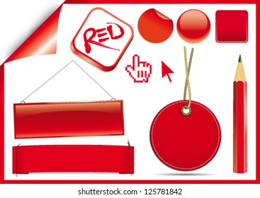 Red vector labels, boxes and icons
