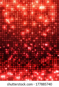 Red vector neon metallic mosaic with spots light. Bright sparkling base for your design. Abstract glitter background for decoration party, disco flyers, posters, banners, advertisement, wrapping