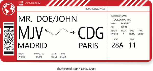 Red vector pattern of a boarding pass ticket. Concept of trip or travel. Boarding pass required for boarding aircraft