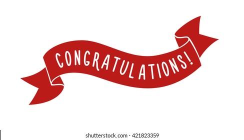 Red vector ribbon Congratulations Header illustration