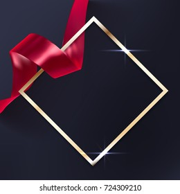 Red vector ribbon and elegant golden frame on black background, luxury banner template. Award ceremony background.