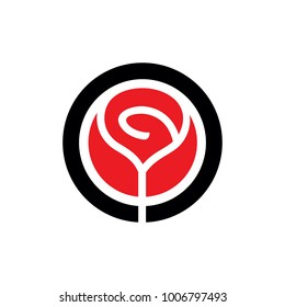 Red Vector Rose Flower Emblem. Simple Rose Logo Template, Clean and simple logo template. Available in resizable EPS vector file format.