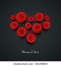 Red vector roses and hearts composition on dark background. Heart symbol. Romantic background . St. Valentine's Day, 8 march, Woman's day, romantic holiday design. Eps10 vector.