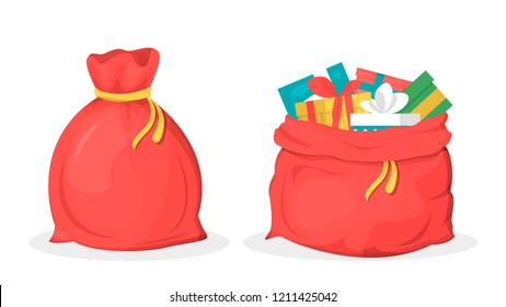 Red vector Santa Claus bag full of gift boxes. Present for new year celebration in big sack. Winter landscape on illustration background.