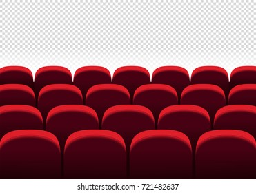 Red vector seats. Cinema, movie, theatre seat rows on transparent background. Vector illustration.