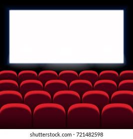 Red vector seats. Movie, cinema design with white screen. Film premiere.