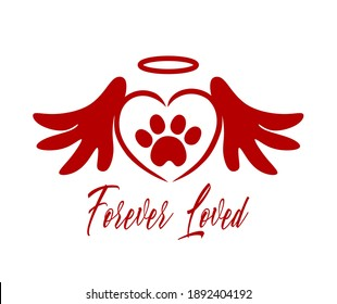 Red vector silhouette of the footprint of a pet's paw in the heart with angel wings,halo.The inscription Forever loved.Sticker, Tattoo,T-shirt print,laser plotter cutting.Cute symbol.I love dogs,cats.