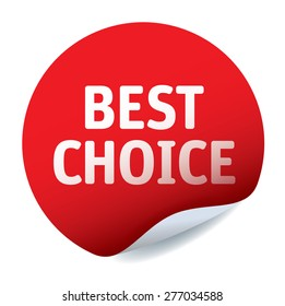 Red vector sticker BEST CHOICE