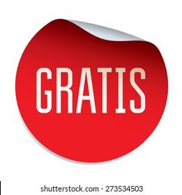 Red vector sticker GRATIS - Spanish text