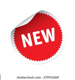 Red vector sticker and text NEW. Isolated outline graphic elements and Illustration. Stamp for product.