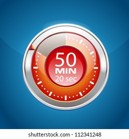 Red vector timer on blue background